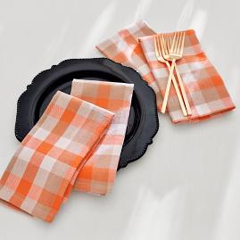 Autumn Check Napkins, Set of Four