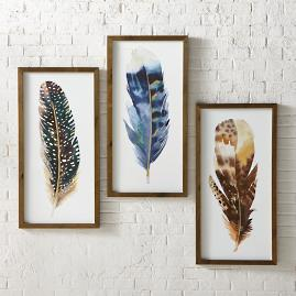 Feather Art Work, Set of Three