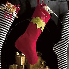 Holly Velvet Stocking
