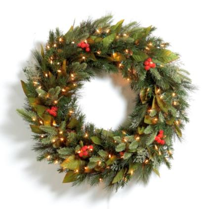 Pre : lit Woodland Christmas Wreath : Grandin Road