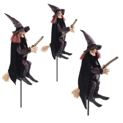 Set Of Three Staked Halloween Witches Grandin Road
