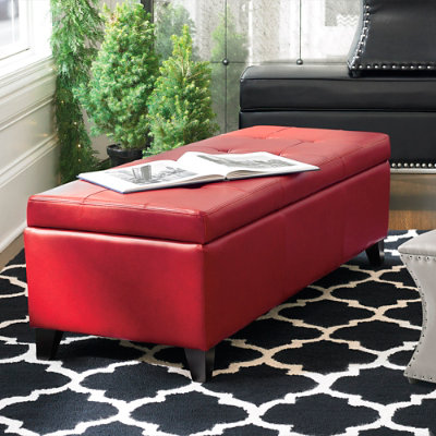 Dylan Textured Leather Storage Ottoman Grandin Road