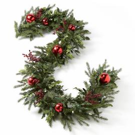 Battery operated Holly and Berry Christmas Garland