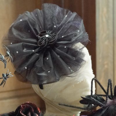 Black Rose with Pouf Halloween Headband