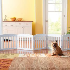 "20""H Freestanding Wooden Pet Gate 