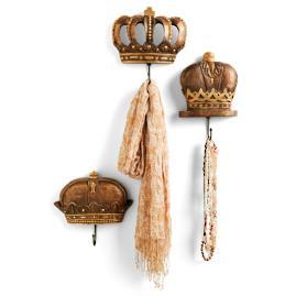 Set of Three Wood Crown Hooks