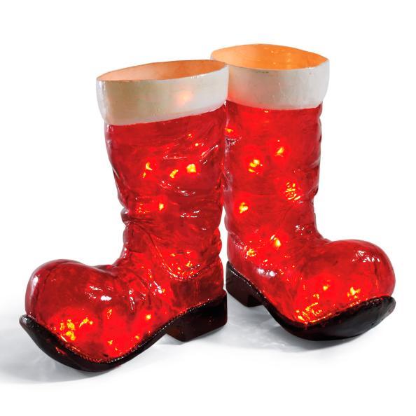Illuminated Santa Boots Outdoor Scene