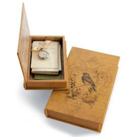 Set of Two Vintage Bird Book Boxes
