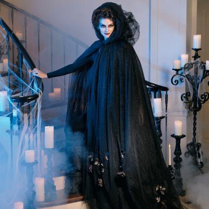 Black Tulle Cloak with Dead Roses CostumeBlack Tulle Cloak with Dead Roses Costume   Grandin Road. Martha Stewart Halloween Costumes Grandin Road. Home Design Ideas