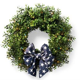 Cordless Boxwood Wreath and Garland