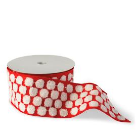 Red Felt with Chenille Dots Ribbon