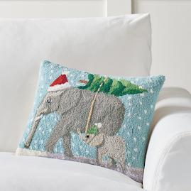 Elephants Winter Wonderland Pillow
