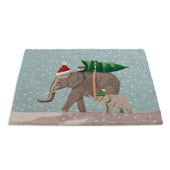 Elephants Winter Wonderland Rug