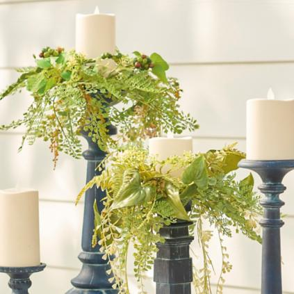 Set Of Five Garden Vine Candle Rings Grandin Road