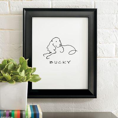 Personalized Dog Line Drawing Artwork Grandin Road