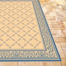 Courtyard Outdoor Rug in Natural & Blue