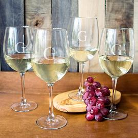 Set of Four Personalized White Wine Glasses