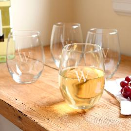 Set of Four Personalized Stemless White Wine Glasses