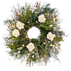 Glen White Rose Wreath