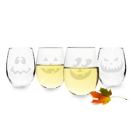 Set of Four Jack O Lantern Stemless Wine