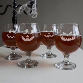 Set of Four Jack-O-Lantern Belgian Glasses