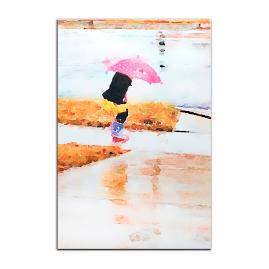 Pink Umbrella Metal Wall Art