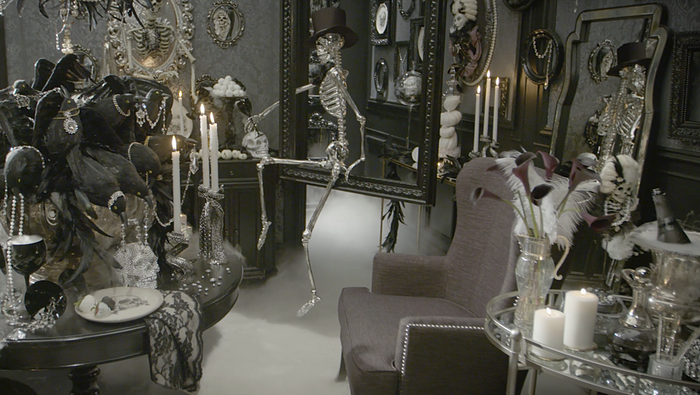 everyday dcor elements like casual chairs tables and lighting fixtures mingle beautifully with carefully curated halloween decorations and designer - Grandin Road Halloween