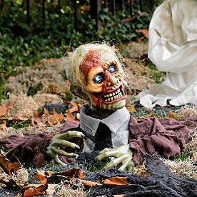 skully the zombie animated halloween prop