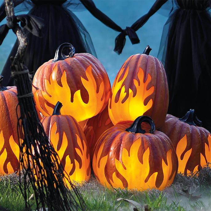 flame lighted pumpkins grandin road. Black Bedroom Furniture Sets. Home Design Ideas