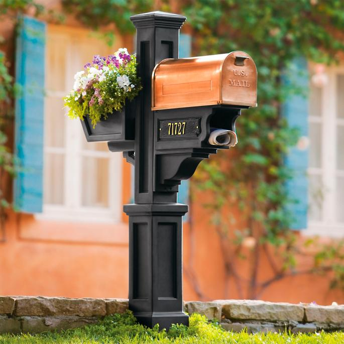 Post Mailbox Flower Box And Newspaper Holder Grandin Road