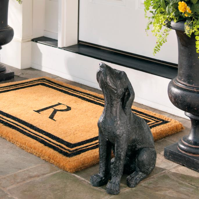 monogrammed coco border door mat