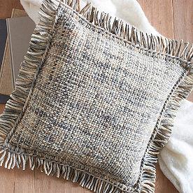 Basketweave Fringed Pillow