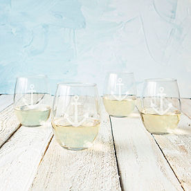 Anchor Stemless Wine Glasses, Set of Four
