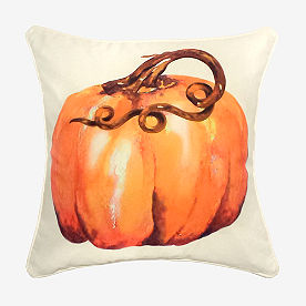 Watercolor Long Stem Pumpkin Pillow