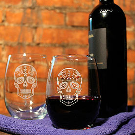 Sugar Skull Stemless Wine Glasses, Set of Four