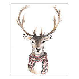 Reindeer with Scarf Canvas Wall Art