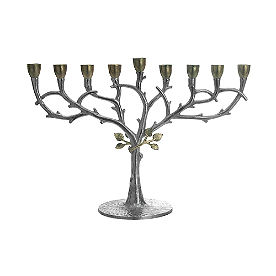 Silver Branch with Gold Leaves Menorah