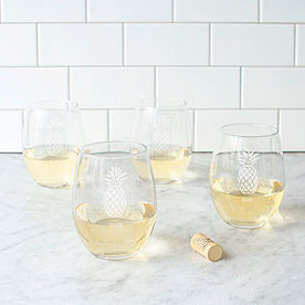 Personalized Pineapple Stemless Wine Glasses, Set of Four
