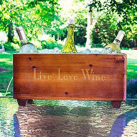 Live Love Wine Wooden Trough