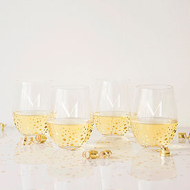 Personalized Gold Dot Stemless Wine Glasses, Set of Four