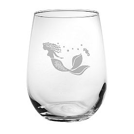 Mermaid Stemless Wine Glasses, Set of Four