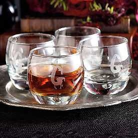 Personalized Halloween Whiskey Glasses, Set of Four