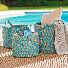 Mayfield Stripe Outdoor Basket, Set of Three