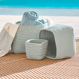 Wallace Sunbrella Outdoor Baskets, Set of Three