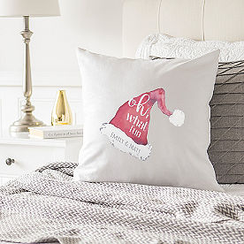 Personalized Christmas Pillow, Santa Hat