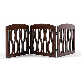 Wavy Wood Three-Panel Pet Gate