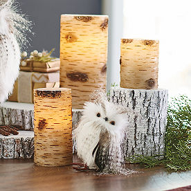 Faux Birch Battery Operated Candle