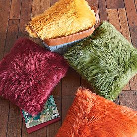 Vibrant Faux Fur Pillow