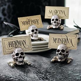 Sketched Skull Card Holders, Set of Four