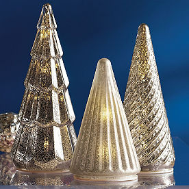 Mercury Glass LED Silver Tree, Set of Three